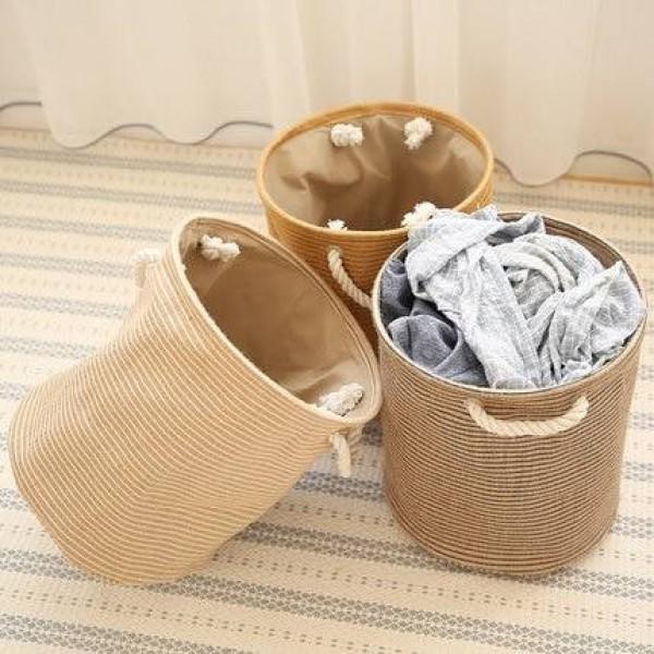 Algodón, ropa de cama, canasta de almacenamiento, canasta de ropa, canasta de lavandería, escombros y ropa sucia, canasta grande y plegable