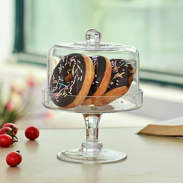 Vidrio transparente creativo con tapa mesa de postres estante para pasteles polvo fruta cubierta bandeja de aperitivos vajilla decoración