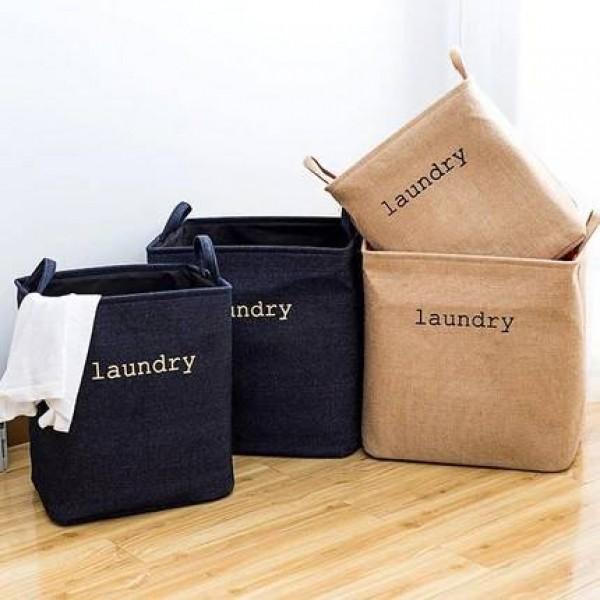 Plegable grande denim algodón lino cesta cesto de la ropa ropa juguetes poner ropa sucia caja de almacenamiento cesta