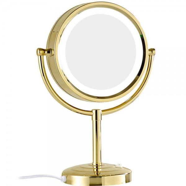 10x / 1x Ampliación Espejo de maquillaje con luces LED Doble cara Cristal redondo Espejo de pie Acabado dorado M2208DJ