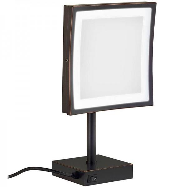 Espejo de maquillaje LED Espejo de luz LED Espejo de maquillaje de encimera ajustable cosmético de aumento 3X 2205DORB