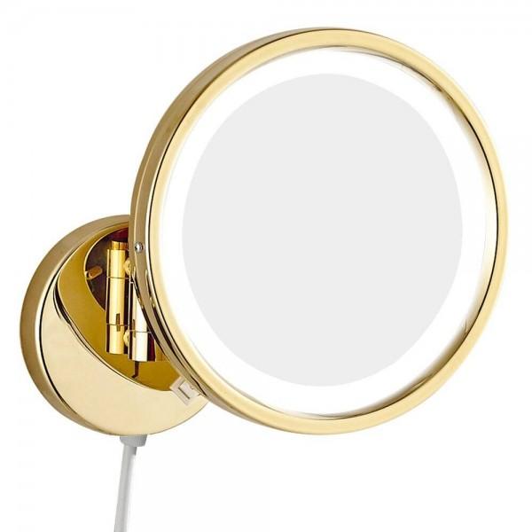 Espejo de maquillaje dorado iluminado con vanidad con enchufe eléctrico, espejo de baño extensible giratorio de 360 grados de doble cara M1807DJ