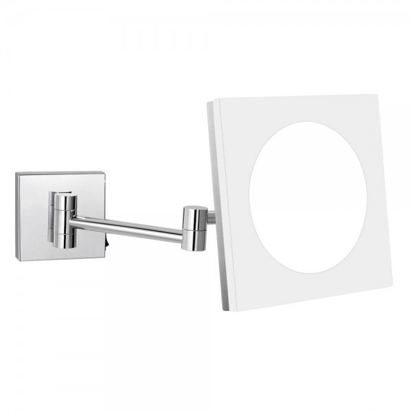 Espejo de maquillaje de tocador cosmético extensible para baño de pared con luces LED y aumento 10X / 7X / 5X, cromo pulido, cuadrado