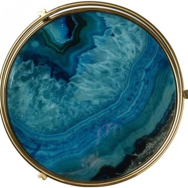 Ray Nordic Light Placa de exhibición de almacenamiento de vidrio chapado en oro de lujo Placa de sala de muestra Juego de té Chasis Ágata azul