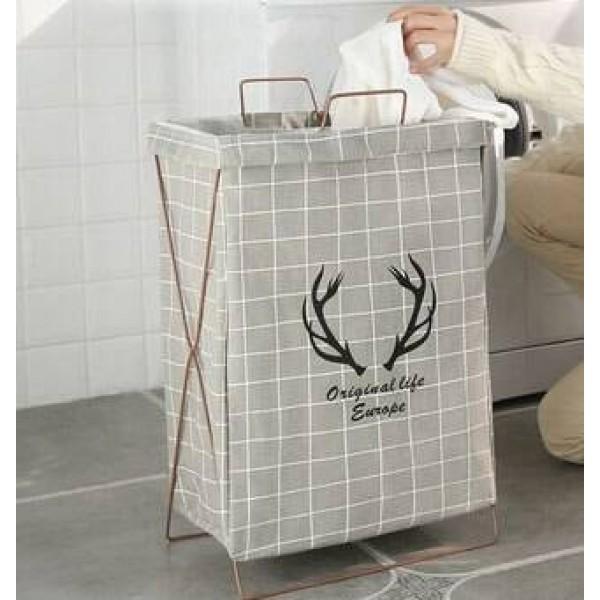 Cesta de almacenamiento de ropa de algodón y lino doméstica simple soporte plegable cesta de cesto impermeable ropa de barril de juguete ropa