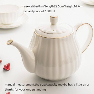 Contorno de olla de café moderno de estilo europeo de 1000 ml en vajilla de hueso de cerámica dorada / leche para el desayuno casero