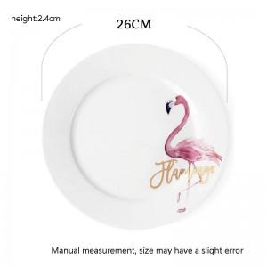 10 pulgadas Creativo Pintado A Mano Patrón de Flamingo Placa de Desayuno En Casa Espaguetis Tortilla Salsa Plato De Plato De Hueso Vajilla