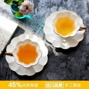 Taza de té de cerámica de oro blanco de alto grado de 180 ml Juego de té de la tarde Juego de taza y plato de café Tazas de estilo europeo