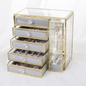 Nuevo Cajón Caja de almacenamiento Joyas de oro Caja de almacenamiento Pendientes Collar de cristal Caja de joyería de escritorio Regalos