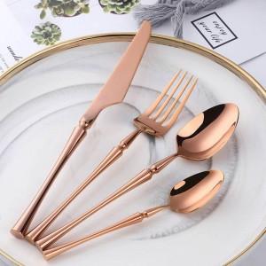 24 piezas / 6 juegos Cubiertos de oro rosa Acero inoxidable 18/10 Productos de tendencia Vajilla Cubiertos con estilo Morden 304 Cubiertos