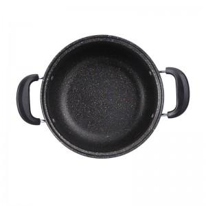 Olla antiadherente Maifanstone de 24 cm con tapa de vidrio Standable Olla de sopa de cocina casera Mango doble para cocina de inducción de gas