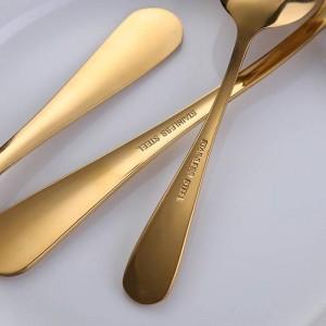 24 unids / lote dorado de acero inoxidable cuchillo de carne tenedor conjunto oro cubiertos conjunto con lujo caja de regalo de madera envío de la gota