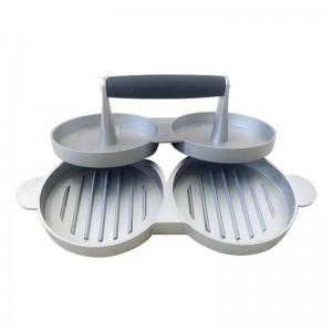 2 ranuras tortas de bricolaje Patty Maker aluminio antiadherente doble hamburguesa prensa carne carne de res parrilla cocina casera barbacoa herramientas de cocina