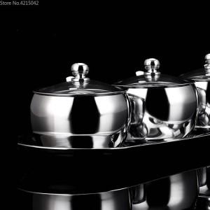 304 Caja de Especias de Acero Inoxidable Juego de Tarros de Especias Tarro de Especias para el Hogar Tanque de Sal Pimientos Latas Suministros de Cocina Condimento Cartucho Cubierta