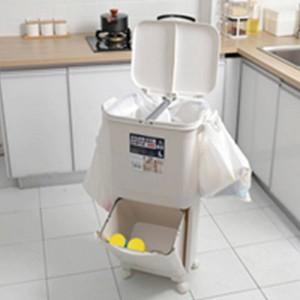 Clasificación 45L Contenedor de basura Contenedor de basura PP Contenedor de basura Basura para la cocina Contenedores de basura de alta capacidad de dos pisos