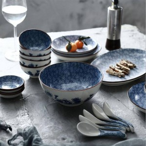 Juego de platos para 6 personas 22 cabezas Líneas japonesas Bandeja de vajilla de cerámica pintada a mano Plato Plato de sopa Conjuntos de cuenco de arroz al vapor