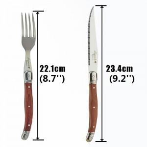 6pcs Laguiole Steak Knives Juego de tenedores Cubiertos japoneses de acero inoxidable Cuchillos y tenedores de madera para la cena Juegos de vajilla con mango de madera