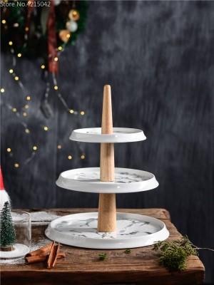 Tarde de merienda de té de mármol de cerámica de 3 capas plato de fruta sala de estar hogar de múltiples capas pastel postre mesa de exhibición