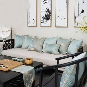 All Match Funda de cojín nórdico Elegante Azul Bordado Textura Tiro Fundas de almohadas decorativas Coche / Funda de almohada Housse De Coussin