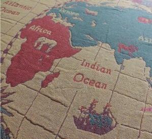 Mapa americano del mundo manta de hilo de algodón manta alfombras de sala de estar