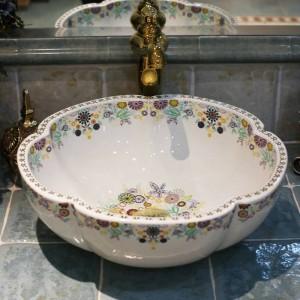 Artístico Procelain Europe Vintage Style Lavabo de arte Lavabo de encimera de cerámica Lavabo de baño Fregaderos de vasos Forma de flor