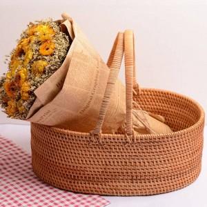 Cesta de fruta de ratán hecha a mano de ratán de otoño, sala de estar, hogar, almacenamiento portátil