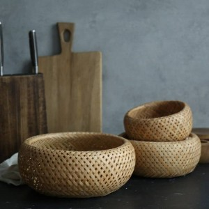 Canasta de almacenaje de bambú Canasta de almacenaje de cocina Canasta tejida doble Canasta de huevos