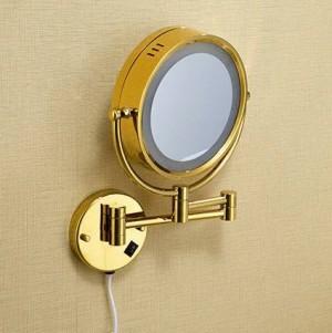 "Espejo de baño 8 ""Espejos cosméticos de pared redonda 3x 1x Espejos de aumento LED de latón plegable de oro espejo de maquillaje de baño luz 1559"