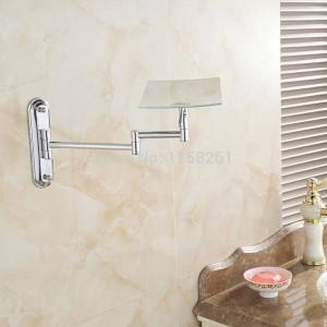 Espejos de baño 3 espejos de aumento de pared de maquillaje cosmético espejo de latón cromo cuadrado belleza plegable espejo de baño 1303