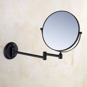Espejos de baño Espejo de maquillaje de pared redonda de 8 'Espejos de aumento 3X1 Latón negro Belleza de doble cara Espejo de baño giratorio 360 1548