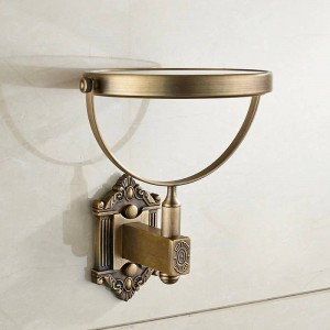 Espejos de baño de latón antiguo 3 X espejo de aumento 6 pulgadas espejo de pared redonda 2 maquillaje facial espejo de baño espejo de baño LAD-71241