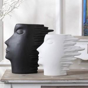 Serie en blanco y negro de cabeza Resumen carácter escandinavo minimalista decoración del hogar gabinete del vino decoración decorativa