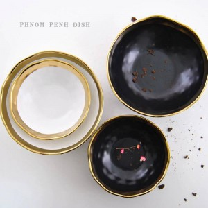 Plato occidental de cerámica de tazón de oro negro Plato de desayuno creativo de Phnom Penh Plato de filete de restaurante casero