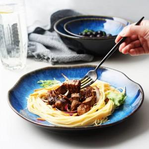 Platos para platos azules Platos Platos para servir vajilla con incrustaciones de oro de color azul Oferta