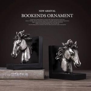Sujetalibros resina caballo artesanía Vintage sala de estudio decoración de escritorio adornos regalo bronce caballo elefante cabeza animal figurita libro final