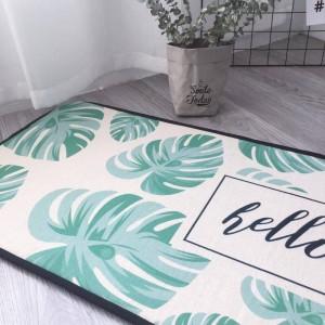 Área de alfombras alfombra de franela alfombra antideslizante alfombra de bape Alfombras nórdicas simples hojas verdes cocina larga dormitorio baño puerta alfombras camas