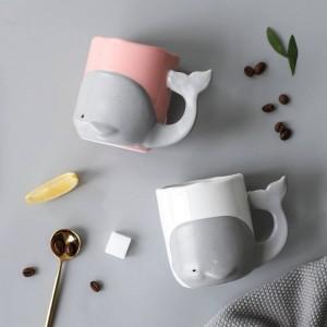 Taza de cerámica creativa de la taza de café taza de café de la taza de la oficina de la ballena de la historieta vidrio de leche