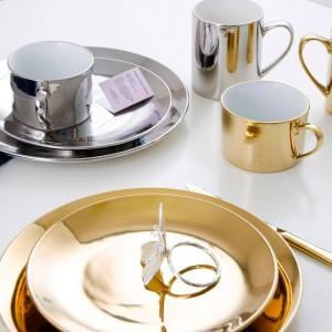 Bandeja de cerámica Bandeja de almacenamiento Estilo Chapado en plata dorada Bandeja de postre Plato de fruta Taza de café