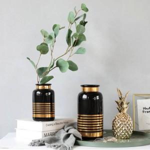 Jarrón de cerámica Estilo europeo Simple Blanco Negro Oro Lujo Decoración de flores Decoración del hogar