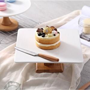 Soporte alto Soporte de pastel Plato Creativo Bandejas de comida Multi-uso Madera de Naural Soporte de pastel de bricolaje Soporte de exhibición de postres de boda