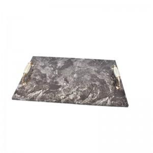 Bandeja de servir de mármol rústico marrón rectangular de InsFashion con asa para decoración de hotel de restaurante vintage