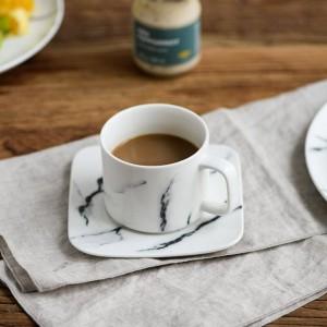 Juego de platos de taza de café Plato y plato de mármol creativo nórdico
