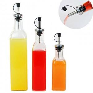 Utensilios de cocina Lecythus 500 ML Botella de vinagre de vidrio transparente Suministros de cocina Engrasadora Especias Botella Boquilla Botella 1pc