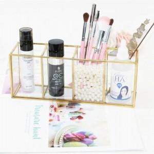 Caja de almacenamiento de cosméticos Decoración de escritorio 4 Bolígrafo Caja de almacenamiento Caja de almacenamiento de vidrio Máscara de tira de cobre Regalo