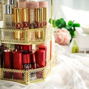 Mesa de tocador de almacenamiento de cosméticos escritorio multifunción caja de almacenamiento de cosméticos cuadrado de metal europeo rotación de 360 grados