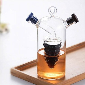 Botella de especias de vidrio de doble capa creativa Aceite a prueba de fugas Salsa de vinagre Botellas de almacenamiento Tarro Condimento Dispensador de ruedas sellado