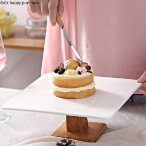 Cerámica creativa de estilo europeo Molde para pasteles Postre alto pan plato de fruta Mesa de postres Soporte de exhibición Pruebe la bandeja cuadrada