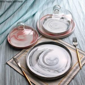 Creativa cerámica de estilo europeo Mármol Bandeja de frutas Con tapa Plato de la torta Cubierta de vidrio Mesa de postres soporte de exhibición bandeja