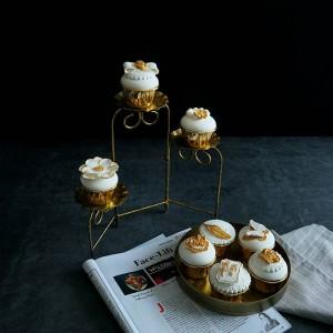 Estilo europeo creativo Retro Soporte de pastel de hierro dorado Plegable Tres pisos Cake pan Taza de pastel Soporte de exhibición cristmas decoración