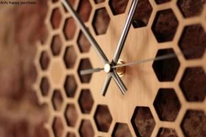 Hexágono creativo registro de nido de abeja reloj de pared rural natural colgante de pared reloj decoración para el hogar decoración de la pared reloj
